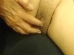 Wife playing and showing her wonderful-looking obscene cleft