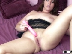 Breasty coed Alisha Adams stuffs her cum-hole with a toy