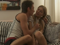 Anjelica in deep throat blowjob given by a nice chick