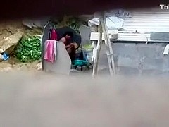 Aunty Bathing Exposed at Public Place
