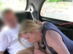 Cute chubby woman with big boobs fucked by the taxi driver