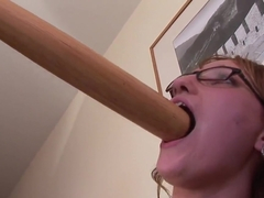 Hot schoolgirl Haley is playing with her bat