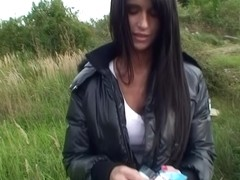 Hawt dilettante gal bent over the car and screwed untill ejaculation