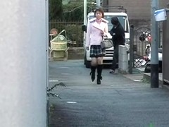 Street sharking video with cute college girl