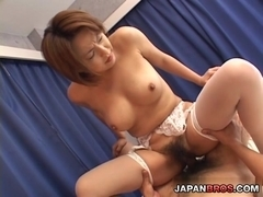 Huge breasted Japanese in stocking gets her pussy a cock beating