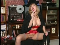 British mother I'd like to fuck bitch Anna solo scene clothed as a teacher
