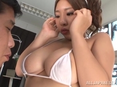 Chika Kitano busty Asian nurse in sexy lingerie exposes tits