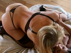 Hot and horny lesbians in sexy stockings licking each other