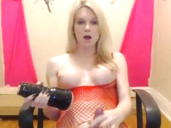 Big Tits Blonde Tranny Jerks off her Cock