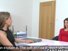 Petite model and female agent licking each other