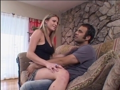 Boy receives orall-service from blond on daybed