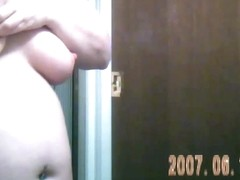 Hidden Cam of wife getting naked for shower - Two cameras
