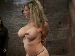 MILF with HUGE EE tits gets them severely boundPulled brutally to tippy toes!Yea that hurts