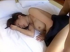 Asian gal fucks in nasty homemade huge tits vid