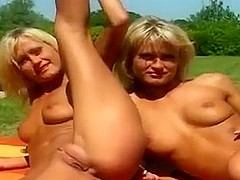 Two blondes fuck with one bloke in the outdoors