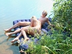 Stripped pair excited outdoor fucking
