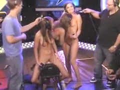 Skinny doll squirts on the Sybian on radio show