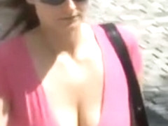 Babes with beautiful big bouncy tits in public