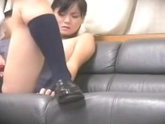 Slutty Asian darling rides a big cock on a spy camera