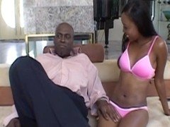 ExGhettoGf: Cute black first time rides a huge cock