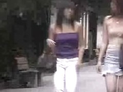 Sweet Japanese babes exposed in public top sharking video