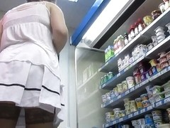 stockings upskirt in market