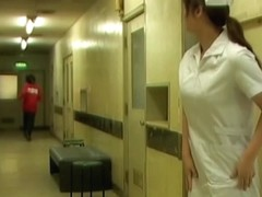 Nurse gets her white pantyhose uncovered while sharking
