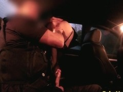 Dogging amateur facialized by english cop