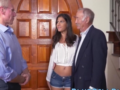 Brunette with sexy ass fucked by older cocks in threesome