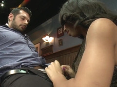 Bartender will Help you Forget Ur Troubles by Making you Suck Her Cock