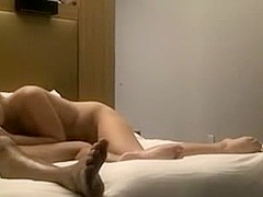 Marvelous blond American gal fucking with her mystic paramour in hotel room fuck tape
