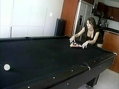 Hot Cookie In High Heels Boots Playing Pool And Getting Bare