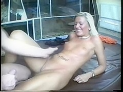 Oiled up blonde ass fucked in home made sex