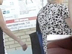 Looking up skirts on a bus
