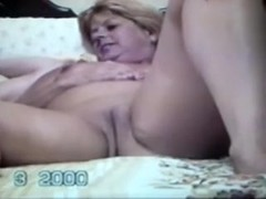 My short-haired golden-haired wife masturbates her mad cookie