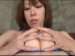 Misato Sakurai fingers and toys her bumpers and vagina