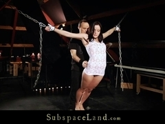 Damsel brunette wrapped gagged blindfolded and tormented