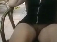 Cocktails and upskirt pussy play with my wife
