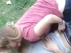 Voyeur handjob video of German lovers in the grass