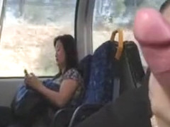 Jerking off on the train across from an Asian woman