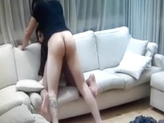 Hot girlfriend fucking with her thong on
