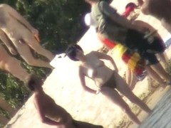 Sexy naked people in a beach voyeur video
