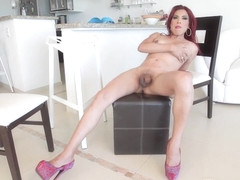 Solo redhead trans jerking until cumshot