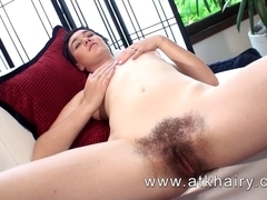 Barb from ATKHairy shows u her soaked shaggy slit