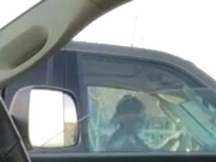 Housewife in a SUV watches him wank