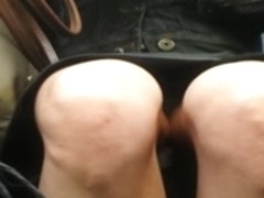 Bare legged upskirt on train