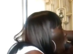 Ebony girl gives her bf a teasing blowjob