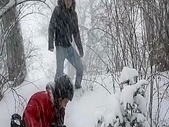 Pretty twink models gay fuck in winter scenery