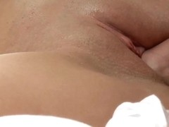 Lovely young short hair girl with big natural boobs climaxes with big cock inside her