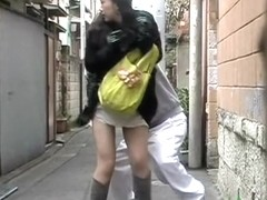 Surprised long-haired oriental babe loses her panties during sharking affair